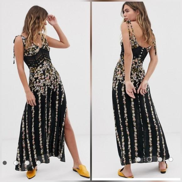 New Free People Floral Maxi Dress dress M//Black Combo